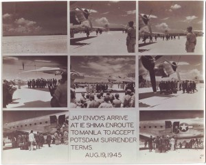 Japanese envoys arrive at IE Shima enroute to Manila to accept Potsdam surrender terms. Aug. 19, 1945